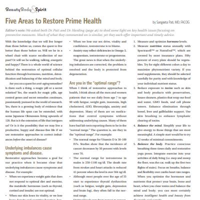 Five Areas to Restore Prime Health