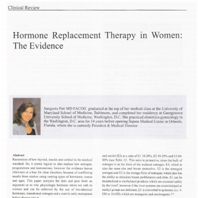 Hormone replacement therapy in Women - The Evidence